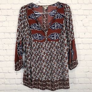 LUCKY BRAND | printed boho peasant top tunic 2xl